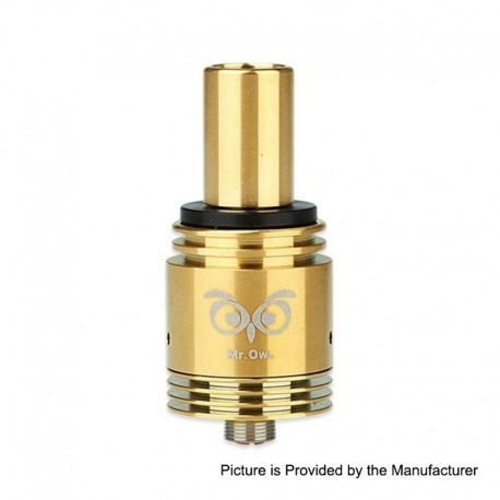 Authentic Ehpro Mr.Owl RDA Rebuildable Dripping Atomizer - Gold, Stainless Steel, 22mm Diameter