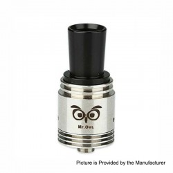 Authentic Ehpro Mr.Owl RDA Rebuildable Dripping Atomizer - Silver, Stainless Steel, 22mm Diameter