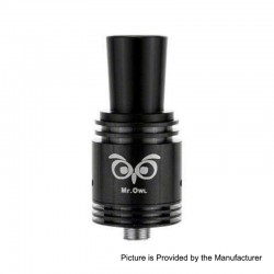 Authentic Ehpro Mr.Owl RDA Rebuildable Dripping Atomizer - Black, Stainless Steel, 22mm Diameter