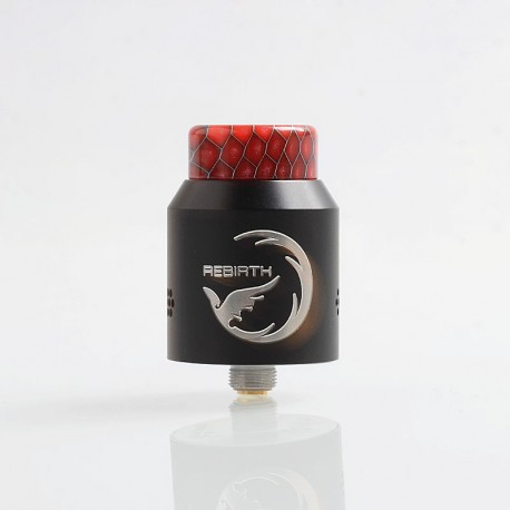 Authentic Hellvape Rebirth RDA Rebuildable Dripping Atomizer w/ BF Pin - Black, Stainless Steel, 24mm Diameter