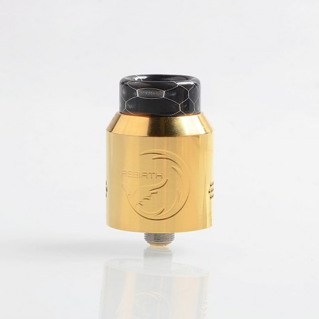 Authentic Hellvape Rebirth RDA Rebuildable Dripping Atomizer w/ BF Pin - Gold, Stainless Steel, 24mm Diameter