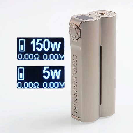 Authentic Squid Industries Double Barrel V3 3.0 150W VW Variable Wattage Box Mod - Grey Champagne, 2 x 18650