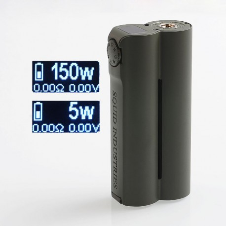 Authentic Squid Industries Double Barrel V3 3.0 150W VW Variable Wattage Box Mod - Army Green, 2 x 18650