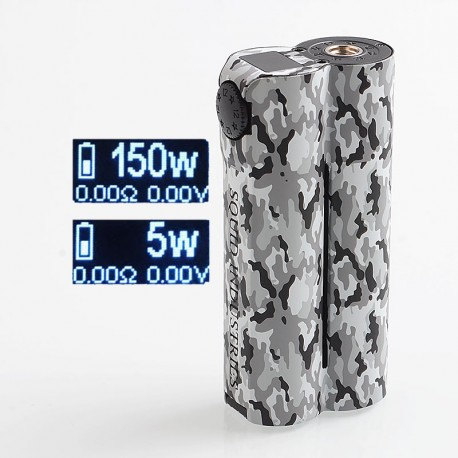 Authentic Squid Industries Double Barrel V3 3.0 150W VW Variable Wattage Box Mod - Arctic Camo, 2 x 18650