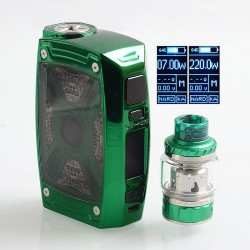 Authentic Tesla XT 220W TC VW Variable Wattage Mod + Tallica Mini Tank Kit - Green, 7~220W, 2 x 18650 / 20700 / 21700, 4ml