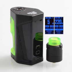 Authentic Vandy Vape Pulse Dual 220W TC VW Squonk Box Mod + Pulse V2 RDA Kit - Black Green, 5~220W, 7ml, 2 x 18650, 24mm