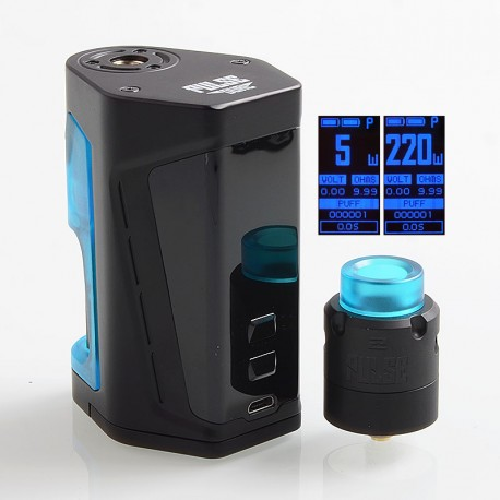 Authentic Vandy Vape Pulse Dual 220W TC VW Squonk Box Mod + Pulse V2 RDA Kit - Black Blue, 5~220W, 7ml, 2 x 18650, 24mm