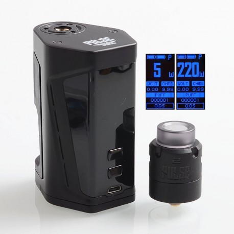 Authentic Vandy Vape Pulse Dual 220W TC VW Squonk Box Mod + Pulse V2 RDA Kit - Black, 5~220W, 7ml, 2 x 18650, 24mm