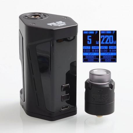 Authentic Vandy Vape Pulse Dual 220W TC VW Squonk Box Mod + Pulse V2 RDA Kit - Black, 5~220W, 7ml, 2 x 18650, 24mm