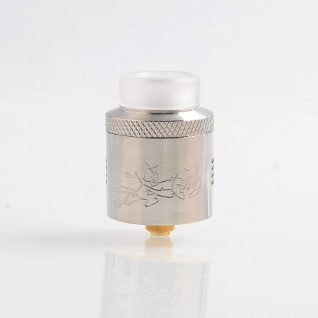Authentic Acevape Bomb Cat RDA Rebuildable Dripping Atomizer w/ BF Pin - Silver, Stainless Steel, 24mm Diameter