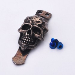 Skull Shape Replacement Mount Clip for Flashlight Torch - Black, Brass + Stainless Steel
