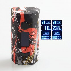 Authentic Rincoe Manto S 228W TC VW Variable Wattage Box Mod - Graffiti C, PC, 1~228W, 2 x 18650