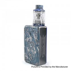 Authentic Tesla Teslacigs Poker 218W TC VW Box Mod + Resin Tank Kit - Blue, 7~218W, 2 x 18650, 0.18 Ohm / 0.15 Ohm, 6ml