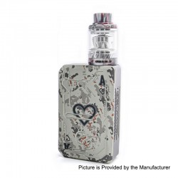 Authentic Tesla Teslacigs Poker 218W TC VW Box Mod + Tallica Mini Tank Kit - White, 7~218W, 2 x 18650, 0.18 Ohm, 6ml
