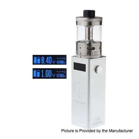 Authentic Steam Crave Titan PWM 300W VV Variable Voltage Box Mod + Aromamizer Titan RDTA Kit - Silver, 4 x 18650, 28ml, 41mm Dia