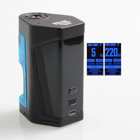 Authentic Vandy Vape Pulse Dual 220W TC VW Squonk Box Mod - Black Blue, 5~220W, 7ml, 2 x 18650
