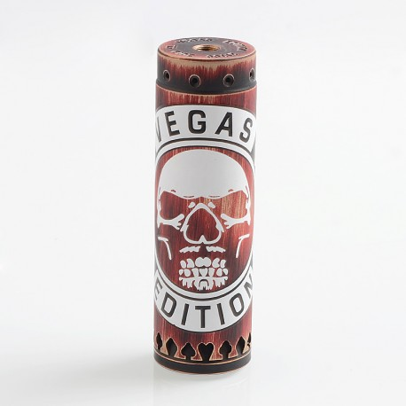 Comp Lyfe Skull HK Vegas Edition Style Hybrid Mechanical Tube Mod - Red, Brass, 1 x 18650 / 20700 / 21700