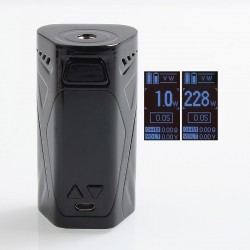 Authentic Rincoe Manto X 228W TC VW Variable Wattage Box Mod - Black, Zinc Alloy, 1~228W, 2 x 18650