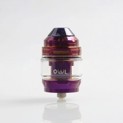 Authentic Advken Owl Sub Ohm Tank Clearomizer - Purple, Stainless Steel + Pyrex Glass, 4ml, 25mm Diameter