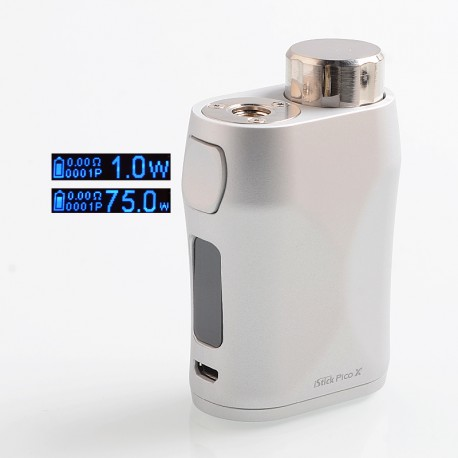 Authentic Eleaf iStick Pico X 75W TC VW Variable Wattage Box Mod - Silver, 1~75W, 1 x 18650
