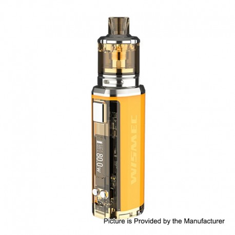 Authentic Wismec SINUOUS V80 80W TC VW Box Mod + Amor NSE Tank Kit - Yellow, 1~80W, 1 x 18650, 2ml / 3ml, 0.27 / 1.3 Ohm