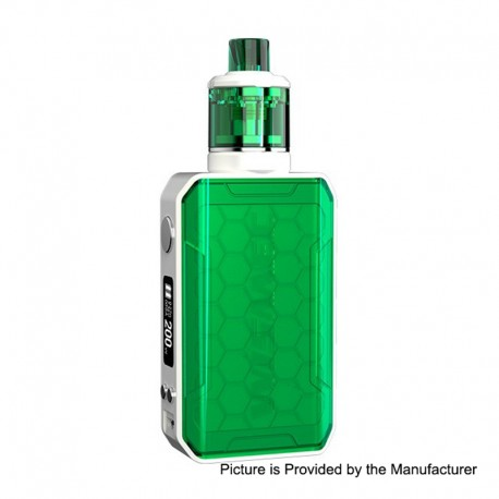 Authentic Wismec SINUOUS V200 200W TC VW Box Mod + Amor NSE Tank Kit - Green, 1~200W, 2 x 18650, 2ml / 3ml, 0.27 / 1.3 Ohm