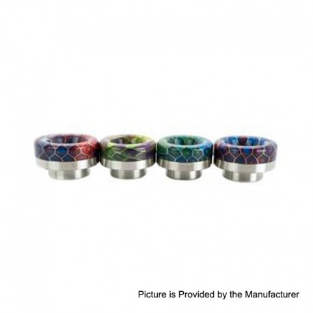 Authentic Asmodus Hybrid BubbaComb 810 Drip Tip for Goon / Kennedy / Reload RDA - Silver Base + Random Color, SS + Resin, 11.6mm