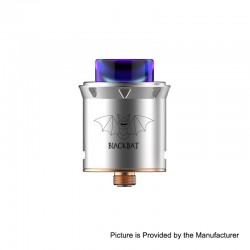 Authentic Capitvape Black Bat RDA Rebuildable Dripping Atomizer w/ BF Pin - Silver, Stainless Steel, 25mm Diameter