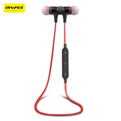 Awei B922BL Magnet Attraction Wireless Bluetooth 4.2 Stereo Sports Headphones - Red