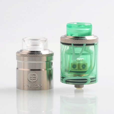 Authentic One Top Onetopvape Gemini RDTA Rebuildable Dripping Tank Atomizer - Green, Stainless Steel + PC, 26.5mm Diameter