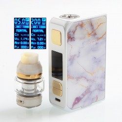 Authentic CoilART LUX 200W TC VW Variable Wattage Box Mod + LUX Mesh Tank Kit - White, 5~200W, 2 x 18650, 5.5ml