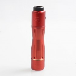 1:1 Get Low Mods GLM V3 Style Hybrid Mechanical Tube Mod + RDA Kit - Red, Brass + Stainless Steel, 1 x 18650