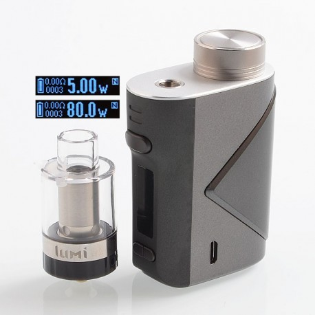 Authentic GeekVape Lucid 80W TC VW Variable Wattage Box Mod + Lumi Tank Kit - Gun Metal, 5~80W, 1 x 18650, 0.3 Ohm, 4ml