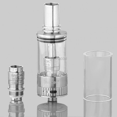 Authentic SmokTech VCT A1-S Sub Ohm Vapor Chaser Tank Clearomizer - Silver + Transparent, 0.33 ohm, 3.8ml