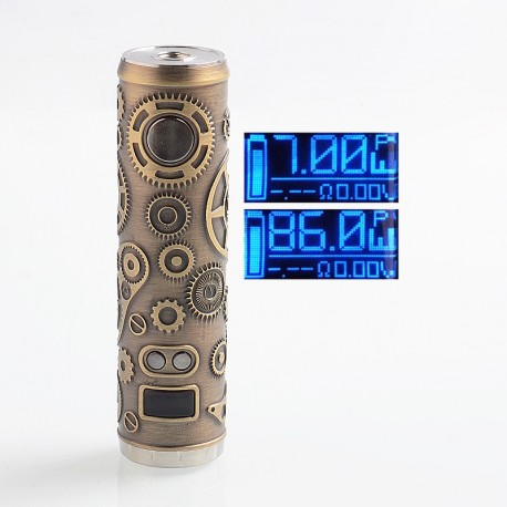 Authentic Tesla Teslacigs Punk 86W VW Variable Wattage Tube Mod - Antique Brass, 7~86W, 1 x 18650