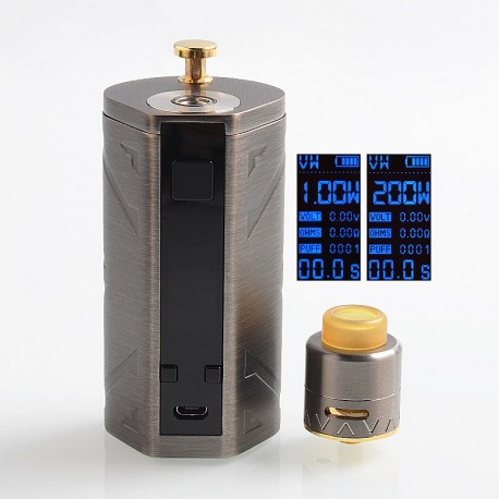 Authentic Smoant Battlestar 200W Squonker Kit VV / VW / DVW Box Mod + RDA Kit - Gun Metal, 1~200W, 7ml Bottle, 2 x 18650