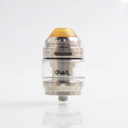 Authentic Advken Owl Sub Ohm Tank Clearomizer - Silver, Stainless Steel + Pyrex Glass, 4ml, 25mm Diameter