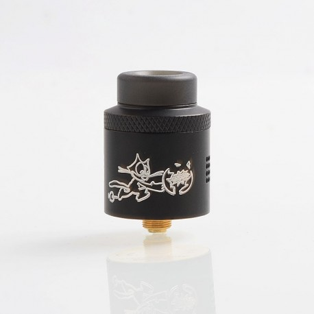 Authentic Acevape Bomb Cat RDA Rebuildable Dripping Atomizer w/ BF Pin - Black, Stainless Steel, 24mm Diameter