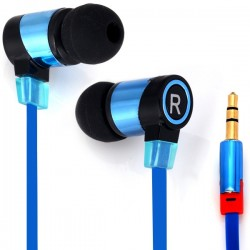 SMZ658 Professional 1.1M In-ear Headset Perfect HiFi Sound Earphone Flat Wire Good Sound Insulation - Blue