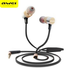 AWEI ES - 20TY 3.5MM Plug Wired Stereo HiFi Music Earphones Headphones - Golden