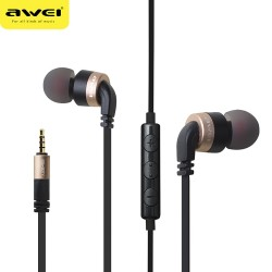 AWEI ES - 30TY Wired Stereo In-ear HiFi Music Earphones Headphones - Golden