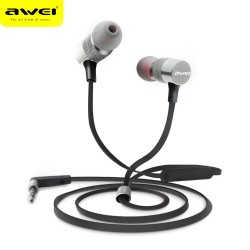 AWEI ES - 20TY 3.5MM Plug Wired Stereo HiFi Music Earphones Headphones - Gray