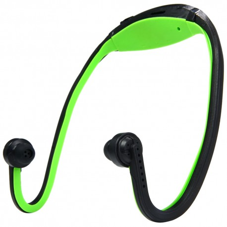 New Style TF Card On-head Sports MP3 Player - Green