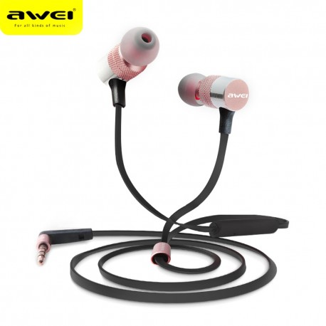 AWEI ES - 20TY 3.5MM Plug Wired Stereo HiFi Music Earphones Headphones - Rose Gold