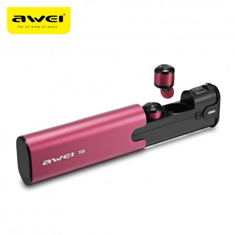 Awei T8 Mini TWS Twins True Wireless Bluetooth V4.2 Earbuds Headset with Charging Base - Rose Red
