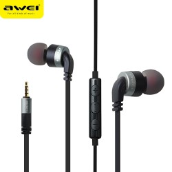 AWEI ES - 30TY Wired Stereo In-ear HiFi Music Earphones Headphones - Silver Gray