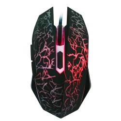 Colorful Flashing 2400DPI Optical Adjustable 6 Button Wired Gaming Mouse for Laptop PC - Black