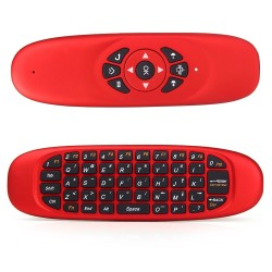 C120 2.4GHz 3D Somatic Handle Wireless Air Mouse + QWERTY Keyboard + Remote Control for Home Entertainment - Red