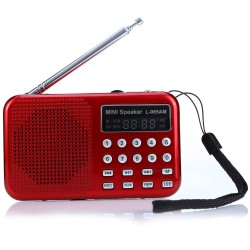 L - 065 Portable AM / FM Radio Music Speaker Support TF SD Card USB AUX Audio Input - Red