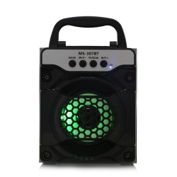 MS - 307BT Portable Bluetooth Speaker with LED Lights 3 inch Driver Unit - Black